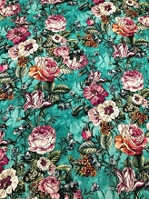 Teal Floral Italian Linen
