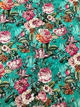 Teal Floral Italian Stretch Cotton
