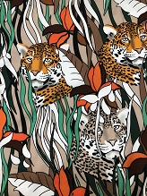 Beige Jungle Italian Stretch Cotton