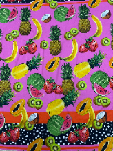 Tropical Fruit Italian Printed Stretch Cotton Panel